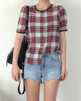 Barbie round neck linen check blouse 2color