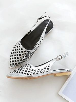 Nellan Punching Slingback Flat Shoes 1cm