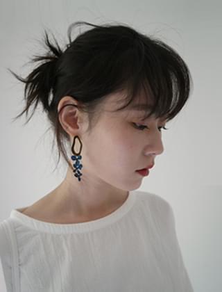 drop flower color earrings (3colors)