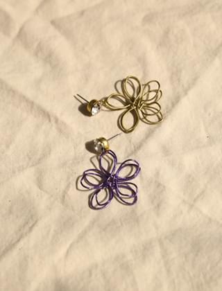 double line flower earrings (2colors)