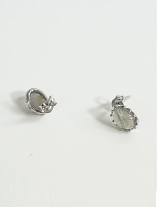 oval gem earrings (3type)