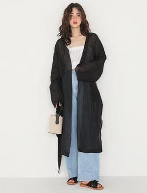 linen sheer slit robe