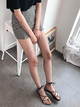 High-waisted check shorts