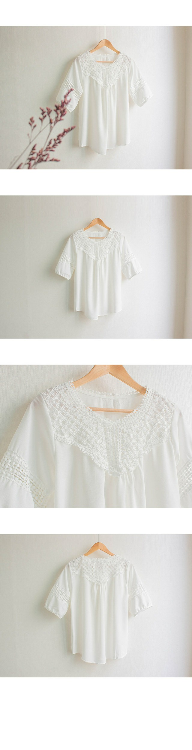 Together embroidery lace punching blouse