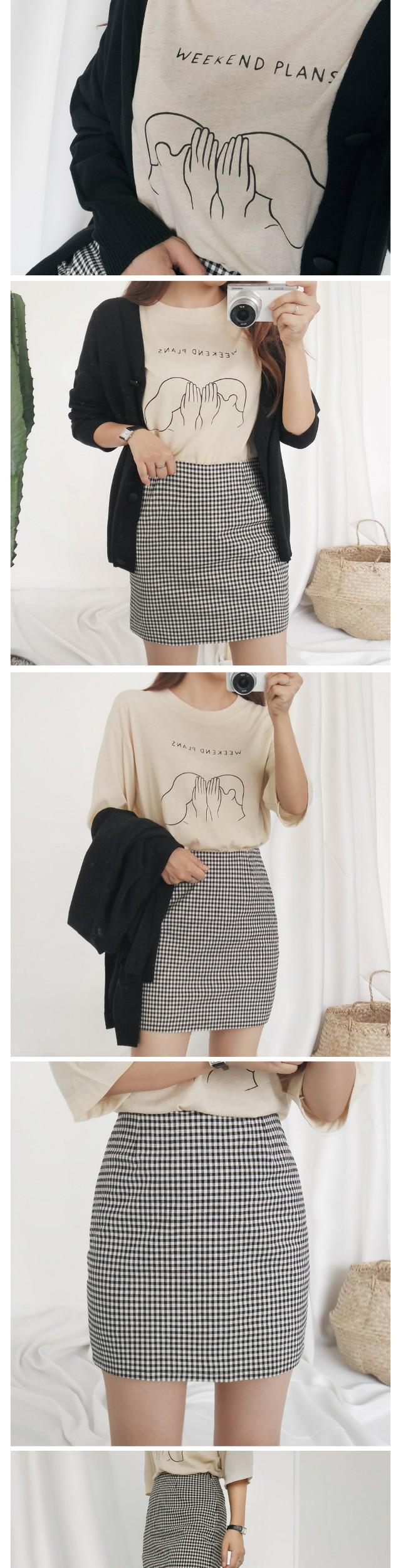 Deli check mini skirt