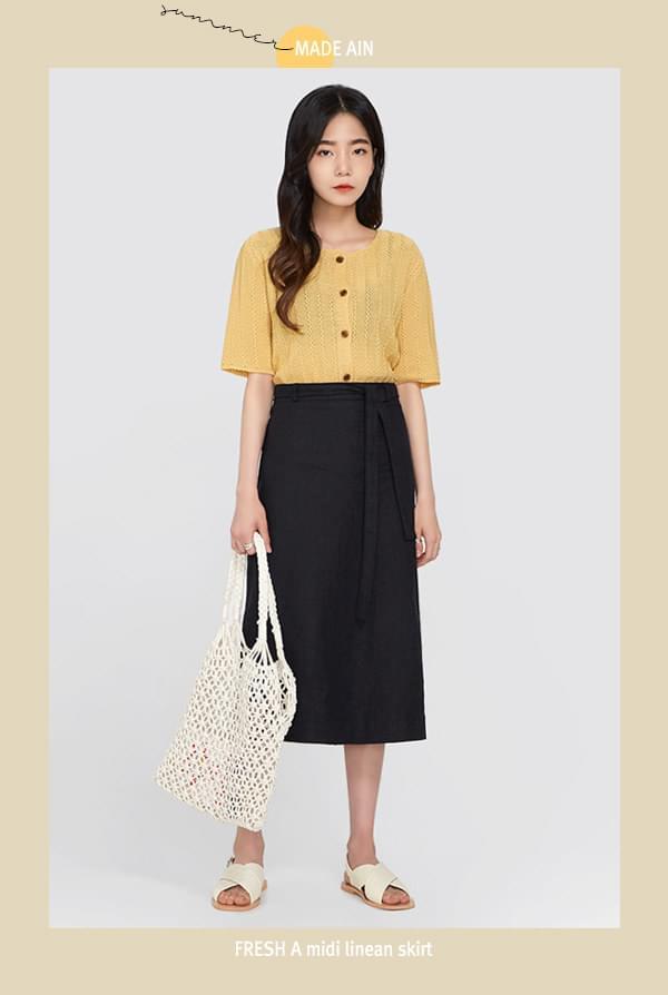 FRESH A midi linen skirt (s, m)