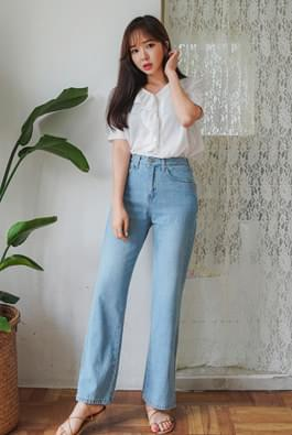 Wide slit denim