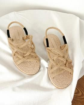 Summer straw rope sandals sandals 2color BASIC
