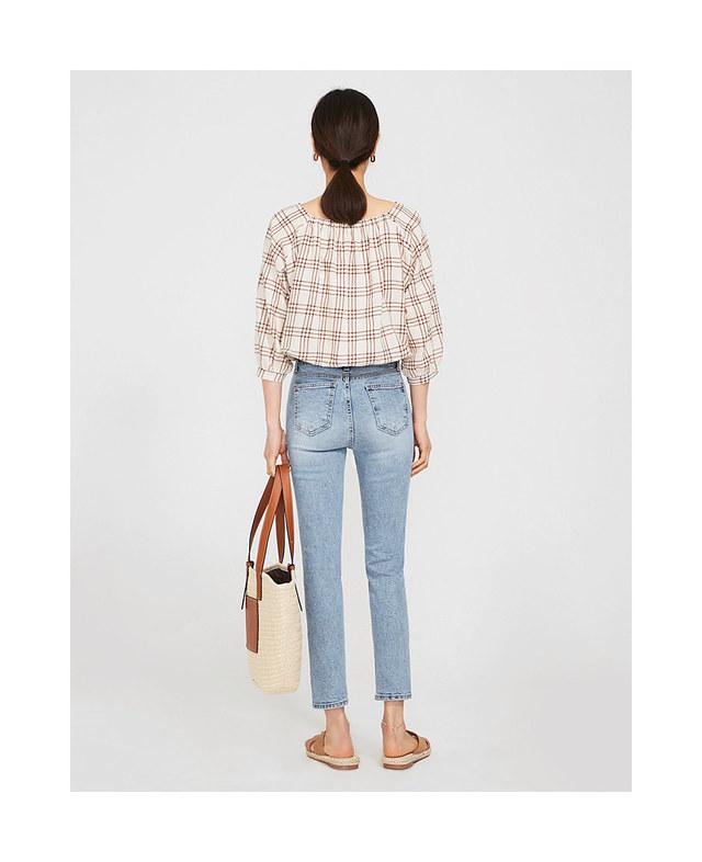 cute mini check blouse