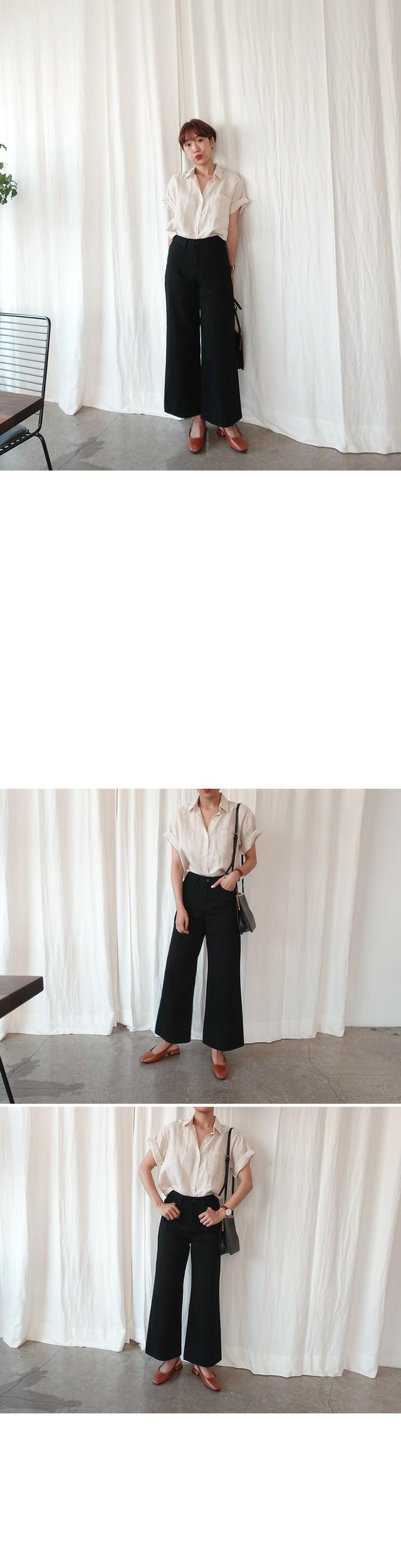 Hard-cotton denim pants