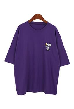 Snoopy embroidered short sleeve-t ★ MD ★ recommended ★