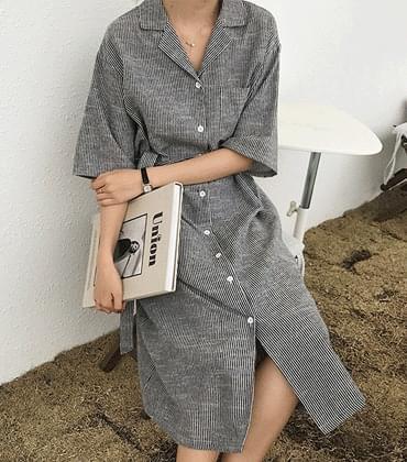 Baguette linen dress