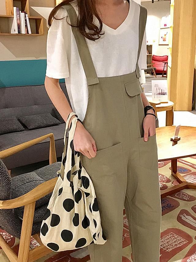 Spring Khaki suspenders pants