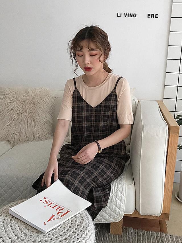 Square top check nail dress