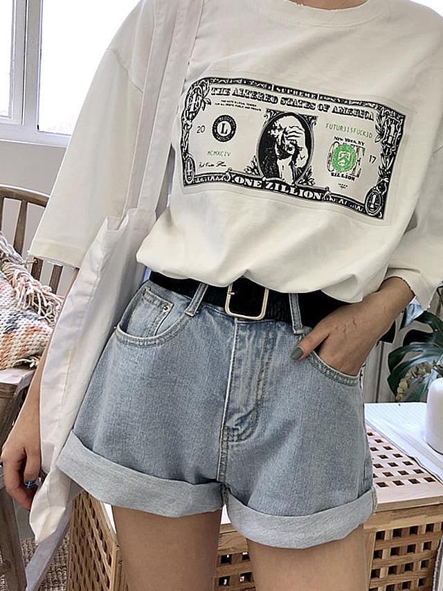 Square Belt Denim Hot Pants