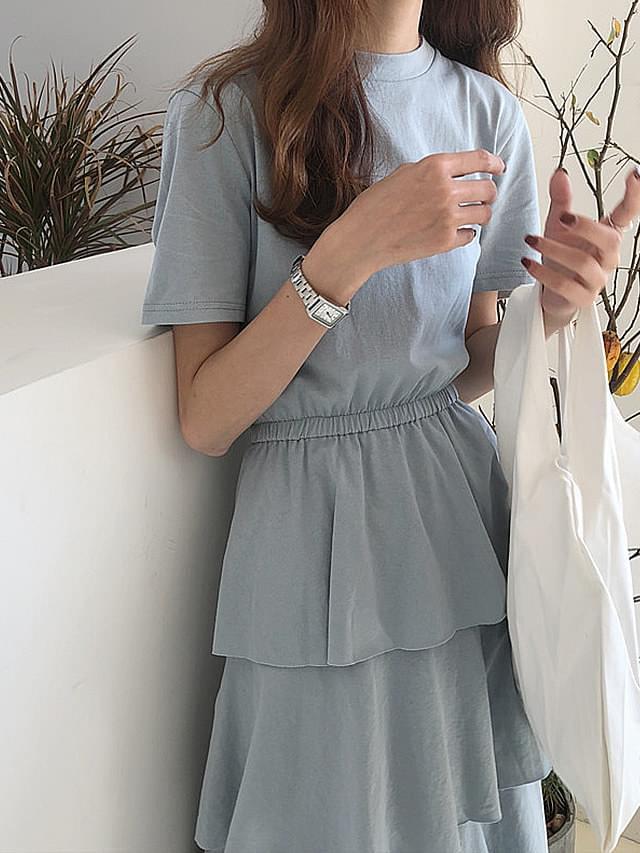 Short-sleeved cotton kimono dress