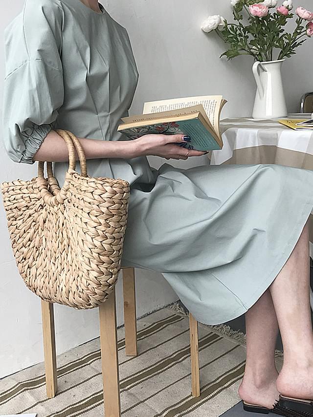 Midi Sleeved Puff Piece Dress