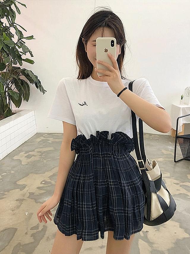 High frill check banding mini skirt