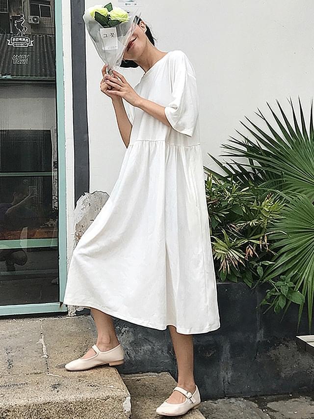 Pocket pocket short sleeve cotton long dress