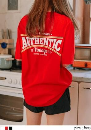 [TOP] AUTHENTIC LETTERING BOXY 1/2 T