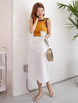 Morning basic linen long skirt_H (size : free)