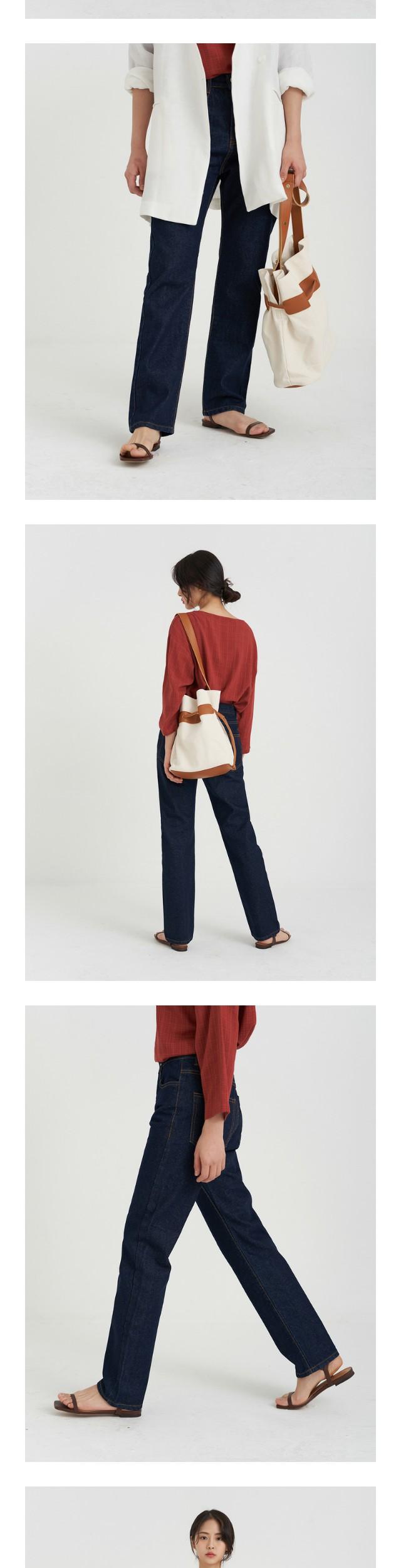 straight long denim pants