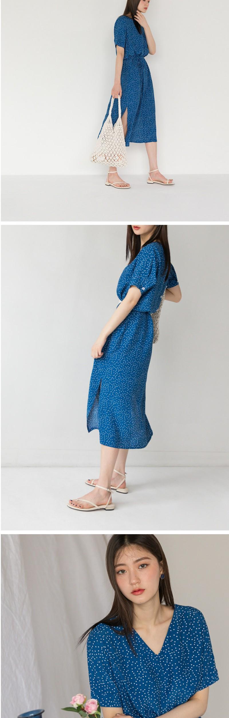 v-neck dot pattern long ops