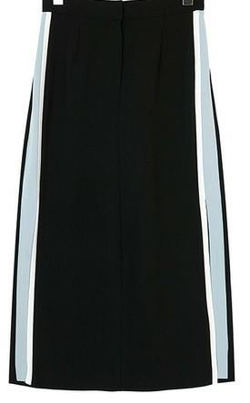 디스 슬릿 트랙 스커트 (2 COLOR 블랙,네이비,하객,A라인,반하이,배색롱치마,여름,가을 데일리아이템)