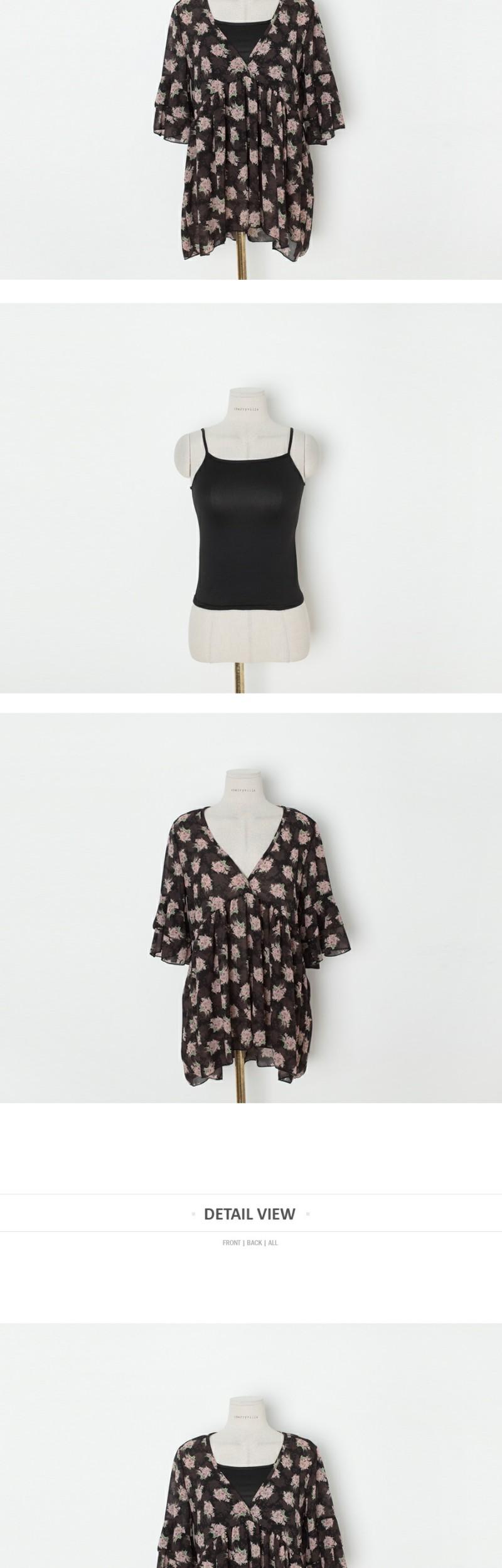 Flare flower blouse + slip SET