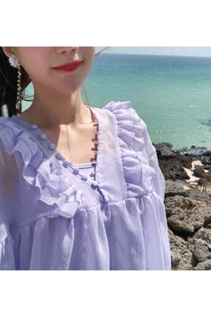 Lavender-filled blouse + slip SET