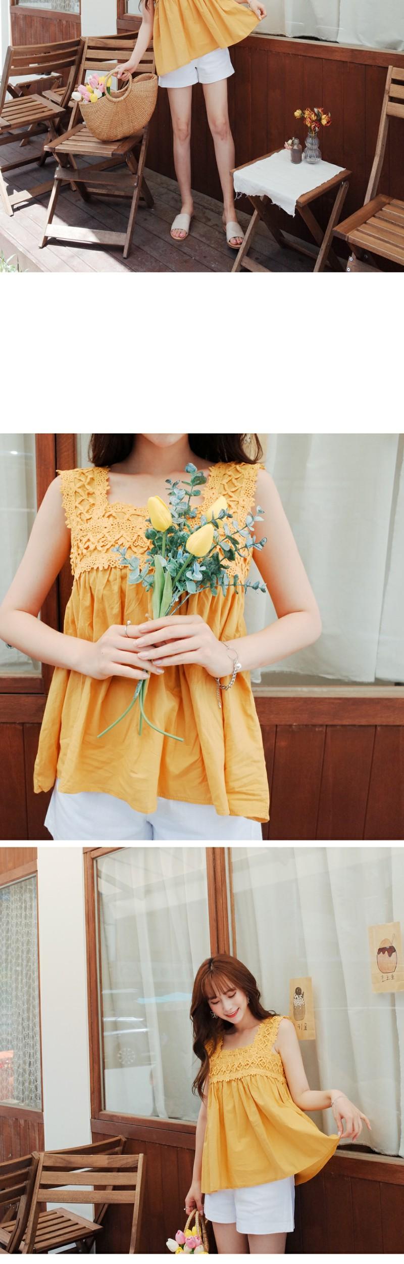 Embroidery Sleeveless Blouse