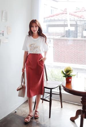 Daily button skirt