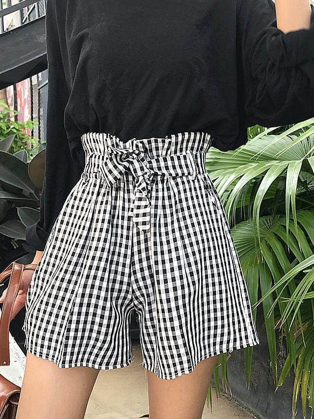Ribbon Belts Waist Banding Gingham Shorts