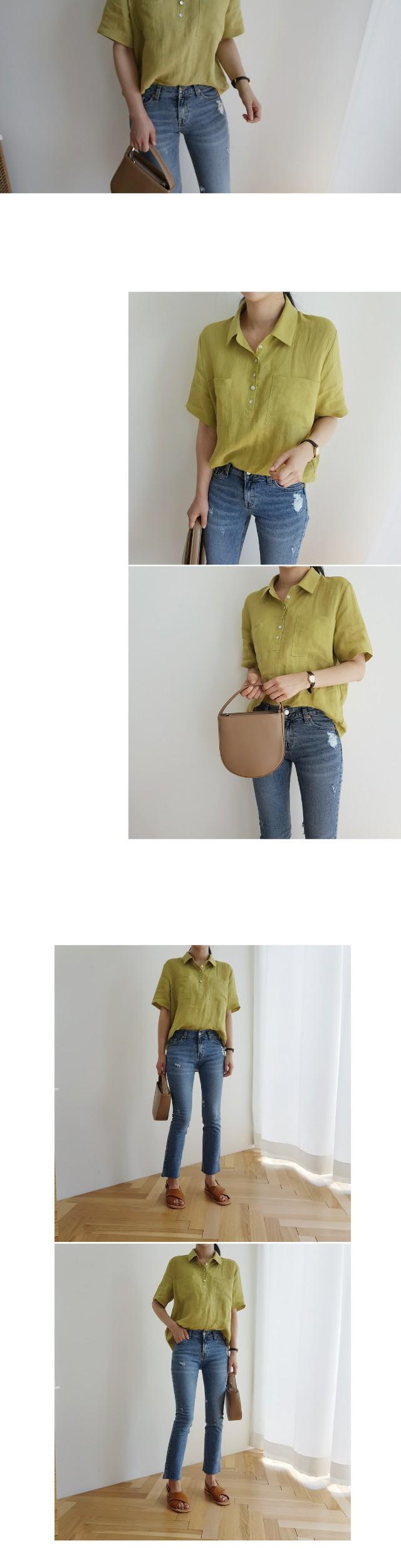Tumi Linen semi-open shirt