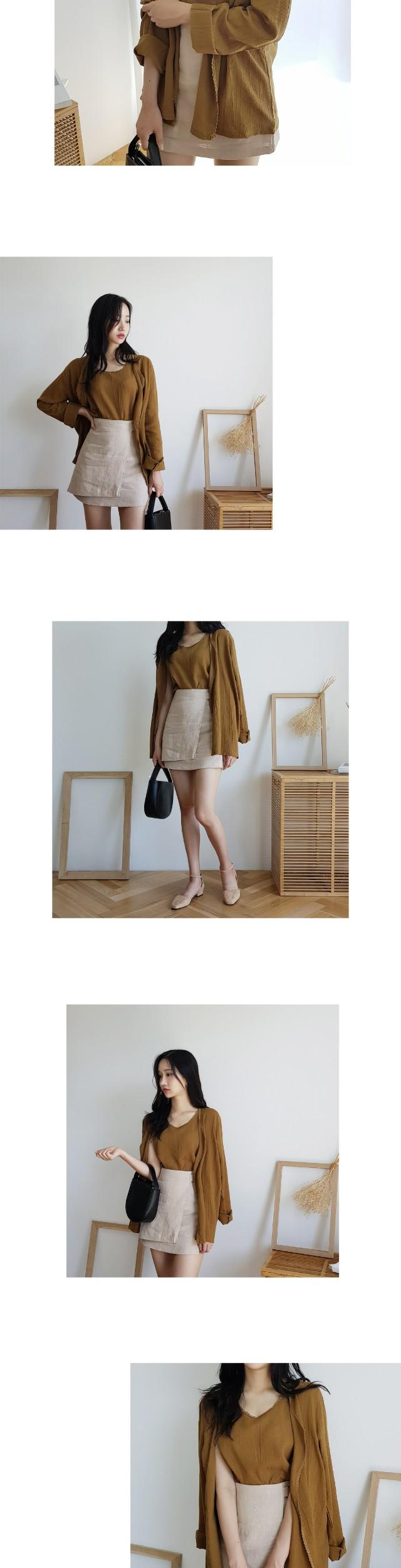 Belt-wrap linen skirt