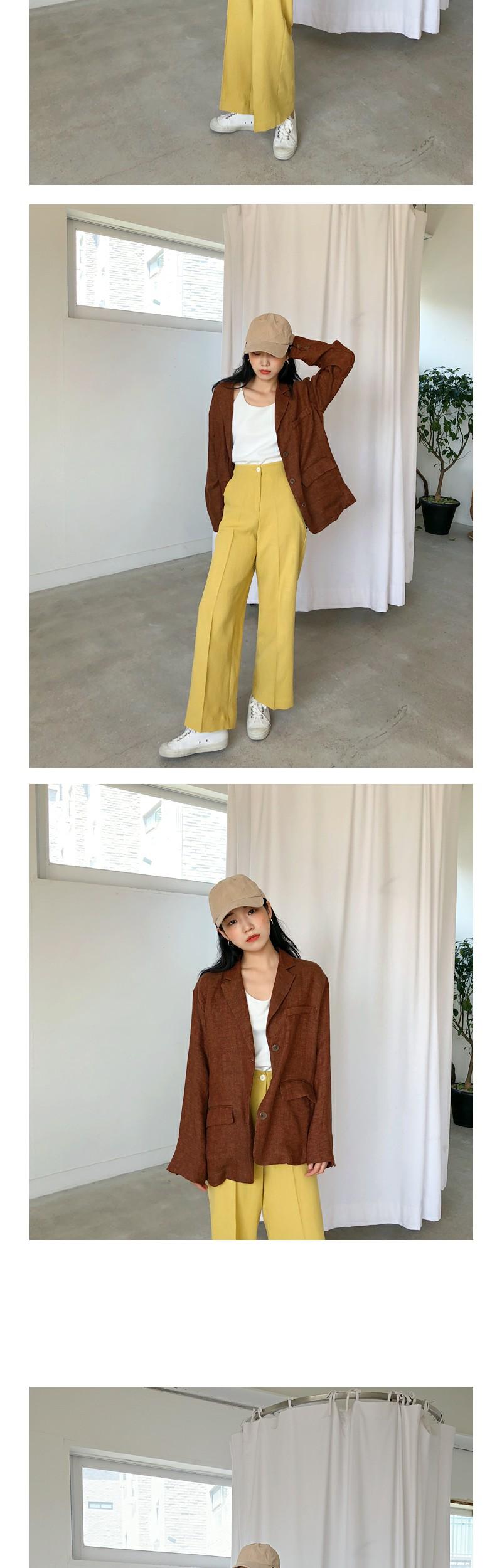 Button linen slacks_M (size : S,M,L)