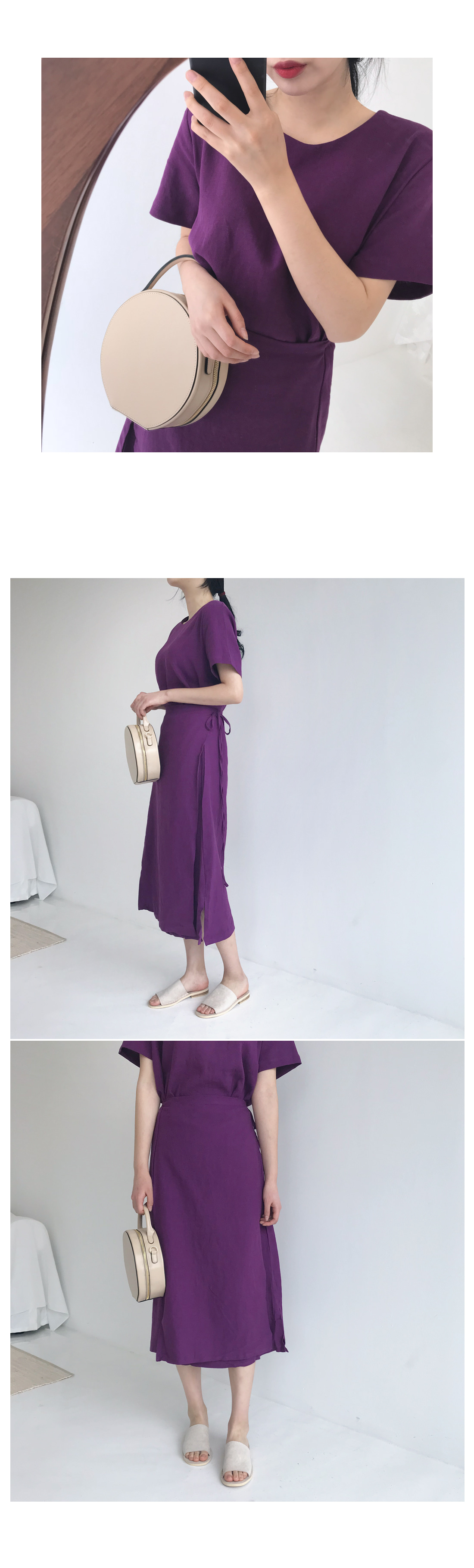 Purple Linen Wrap Long Dress