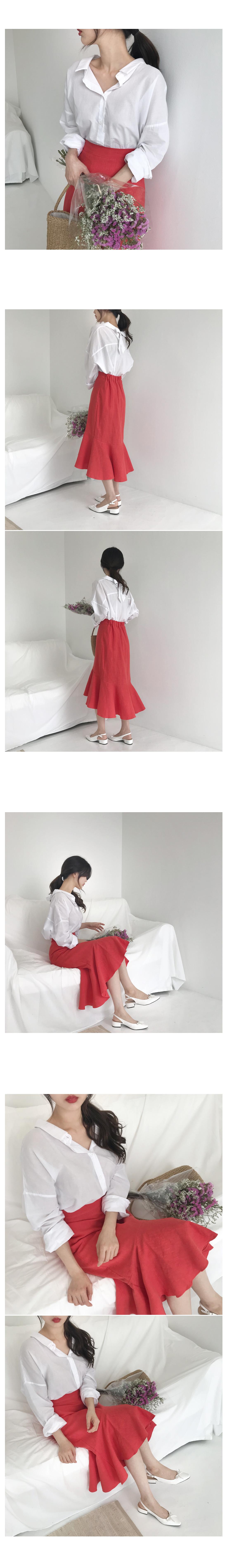 Blooming linen long skirt