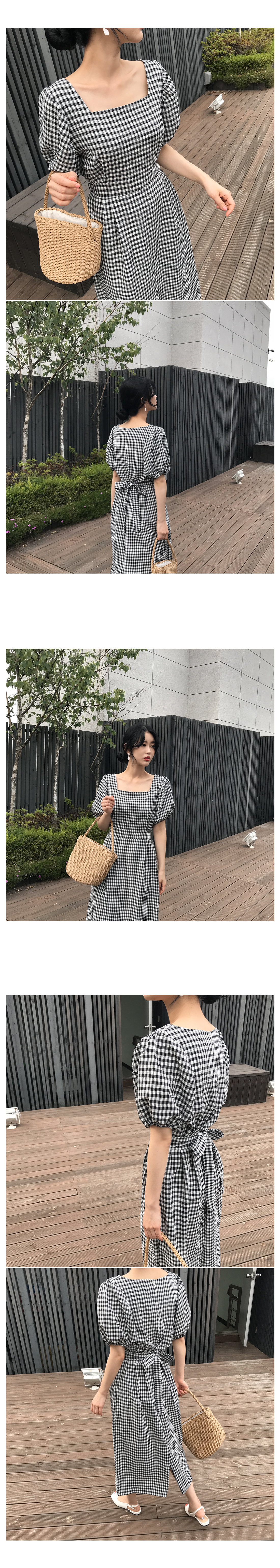 Waffle check long dress