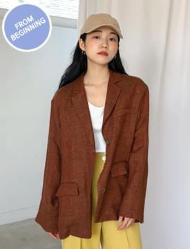 韓國空運 - Made_outer-118_linen standard jacket_M (size : free) 夾克外套