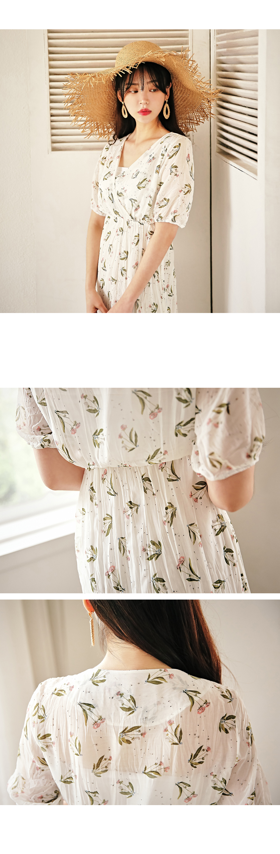 Rape flower wrap dress
