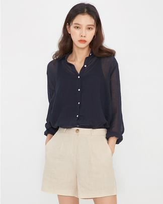 olive see through linen shirts ブラウス