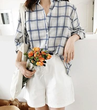 Linen linen check shirt