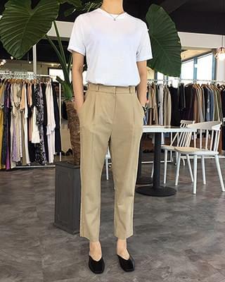 Herringbone linen pants - 2color