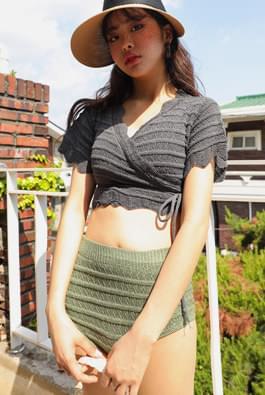 Lace lap knit bikini