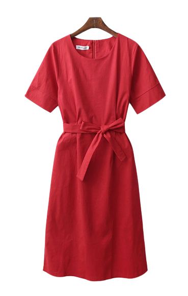 Linen Long Red Dress