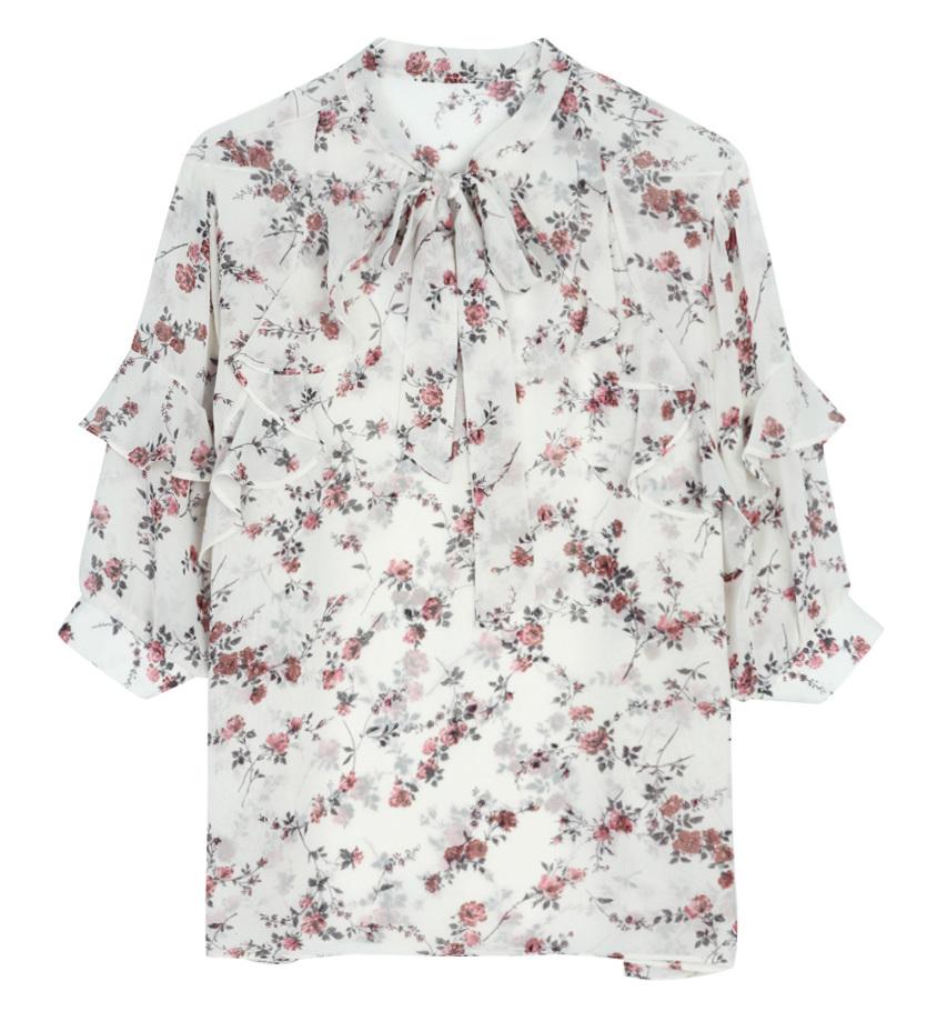 Dried rose ribbon blouse
