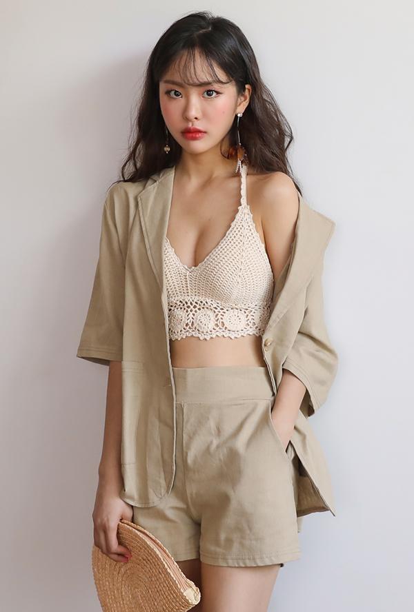 Knit motif bikini