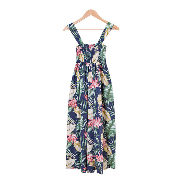 Hawaiian Smoke Banding Flower Wide Jump Suit