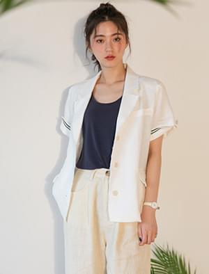 Natural cutting short-sleeved linen jacket 夾克外套